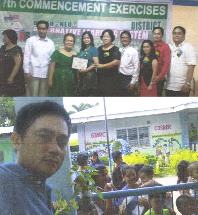 Active in joining outreach programs, Felix attended the Commencement Exercise for ALS graduates of Canlubang Center as the Instructional Manager for ALS (top). He also participated in a Medical Mission that assisted children in Calamba, Laguna (bottom).